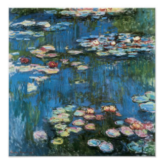 Waterlilies by Claude Monet, Vintage Impressionism Poster