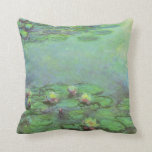 Waterlilies by Monet, Vintage Floral Impressionism Throw Pillow
