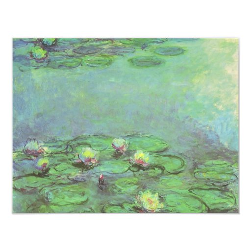 "Waterlilies by Monet, Vintage Floral Impressionism 4.25"" X 5.5"" Invitation Card"