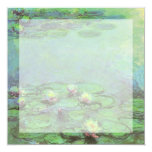"Waterlilies by Monet, Vintage Floral Impressionism 5.25"" Square Invitation Card"