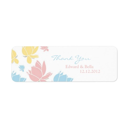 Waterlilly Wedding Thank You Gift Tag Label Return Address Label