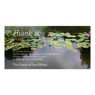 Waterlily 3 Peaceful Garden Sympathy Thank You Personalised Photo Card