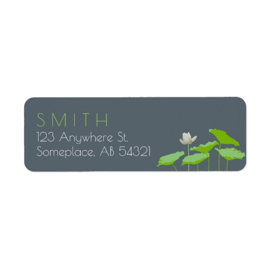Waterlily Lily Pads Pond Nature Flower Lime Green Return Address Label