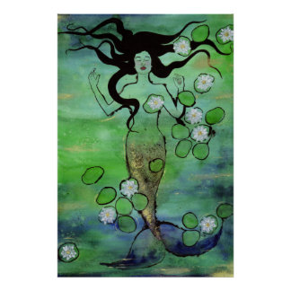 Waterlily Mermaid Poster