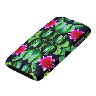 Waterlily Pattern in Bright Pink and Green iPhone 3 Case