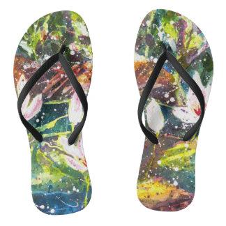 Waterlily pond watercolor flip flops