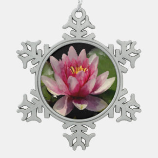 Waterlily Watercolor Snowflake Pewter Christmas Ornament