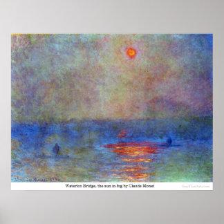 Waterloo Bridge, the sun in fog by Claude Monet Poster