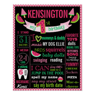 Watermelon 1st birthday chalkboard sign poster