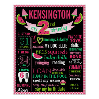 Watermelon 2nd birthday chalkboard sign poster
