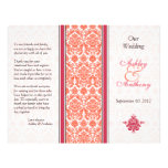 Watermelon and Coral Damask Wedding Program Flyer Design