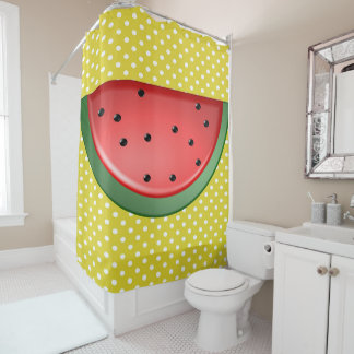 Watermelon and Polka Dots Shower Curtain