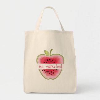 Watermelon Apple Personalized Teacher Tote Bag