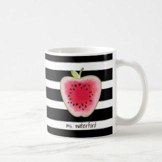 Watermelon Apple Stripes Personalized Teacher Coffee Mug