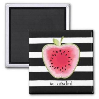 Watermelon Apple Stripes Personalized Teacher Magnet
