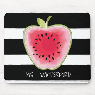 Watermelon Apple Stripes Personalized Teacher Mouse Mat
