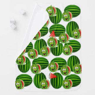 Watermelon baby fleece blanket green red print