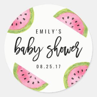 Watermelon Baby Shower Classic Round Sticker