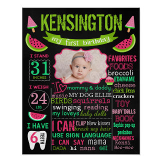 Watermelon birthday chalkboard sign poster