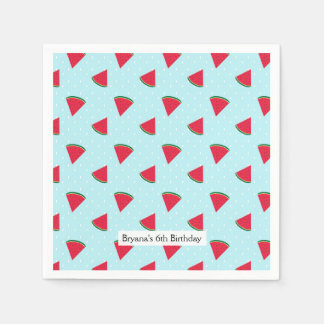 Watermelon Blue Fun Summertime Birthday Party Paper Napkin