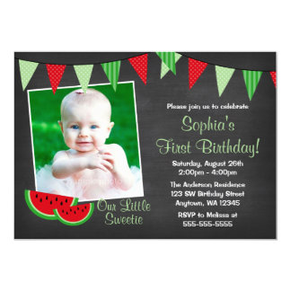 Watermelon Chalkboard Photo Birthday Card