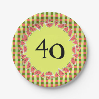Watermelon Check 40 Age paper plates