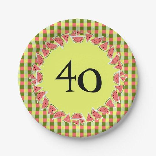 Watermelon Check 40 Age paper plates