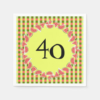 Watermelon Check Happy 40 Age napkins paper Paper Napkin