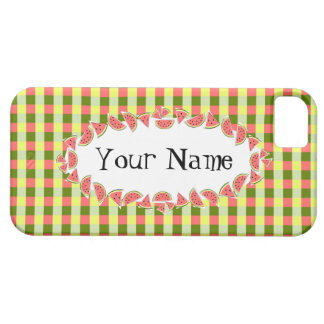 Watermelon Check oval 'Name' horizontal Barely There iPhone 5 Case