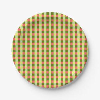 Watermelon Check paper plates