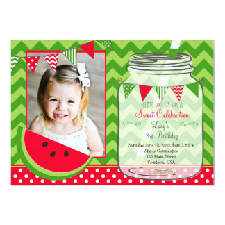 Watermelon Chevron Pendants Party Birthday Card