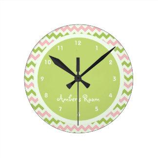 Watermelon Chevron Personalized Kid's Bedroom Round Clock