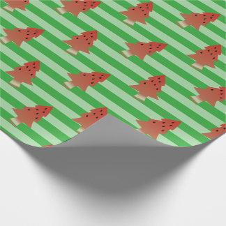 Watermelon Christmas Trees Green Stripe Gift Wrap