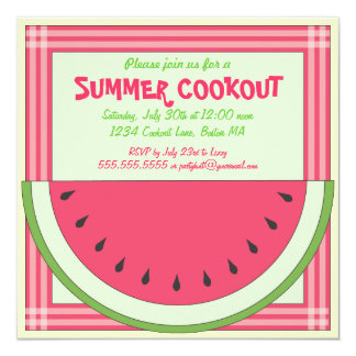 Watermelon Cookout Picnic Invitation