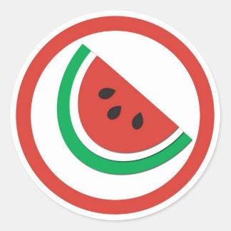 Watermelon flavor circle sticker labels