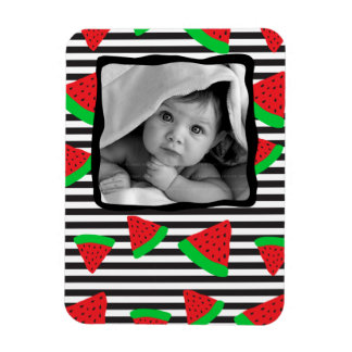 Watermelon Fruit Stripes Baby Photo Template Magne Magnet