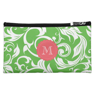 Watermelon Green Floral Scroll Pink Monogram Makeup Bag