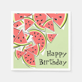 Watermelon Green Happy Birthday napkins paper Disposable Napkins