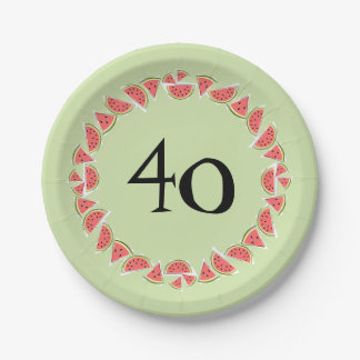 Watermelon Green Pieces Circle 40 Age paper plates