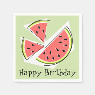 Watermelon Green Pieces Happy Birthday Paper Napkins