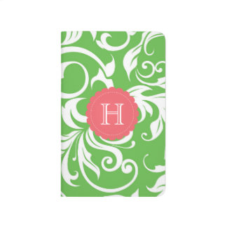 Watermelon Green Pink Floral Swirl Monogram Journal