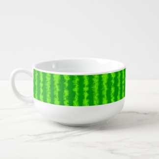 Watermelon Green Rind Summer Fruit Pattern Soup Bowl With Handle