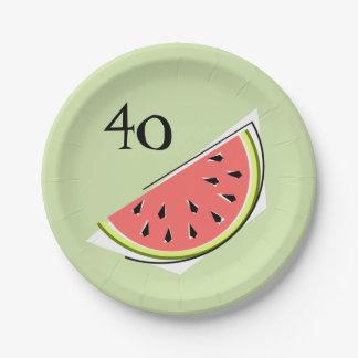 Watermelon Green slice 40 Age paper plates