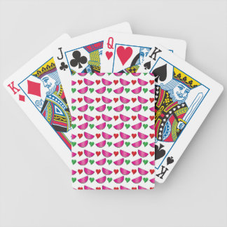 Watermelon heart pattern bicycle playing cards