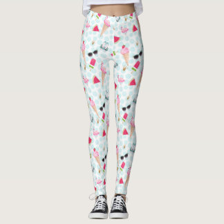 watermelon, ice cream, flamingo summer leggings
