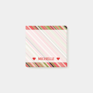 Watermelon-Inspired Stripes & Custom Name Note Post-it® Notes