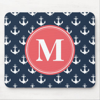 Watermelon Monogrammed Navy Blue Anchor Pattern Mouse Mat