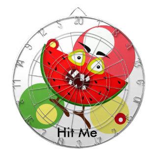 Watermelon monster fruit illustration dartboard with darts