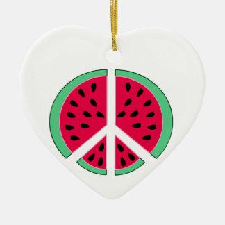Watermelon of Peace Ceramic Heart Decoration