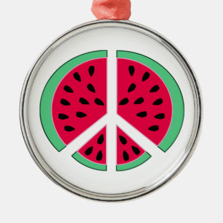 Watermelon of Peace Silver-Colored Round Decoration